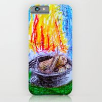 iPhone Cases featuring Fire Pit by Brontosaurus