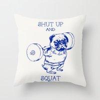 Pug Squat Throw Pillow