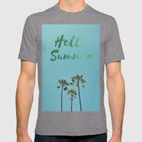 Hello Summer Mens Fitted Tee Tri-Grey SMALL