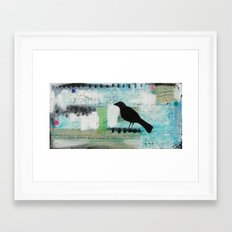 Blackbird singing Framed Art Print