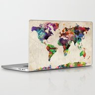 World Map Urban Watercol… Laptop & iPad Skin