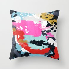 Charlotte - Abstract Painting in pink, gold, mint, and navy Throw Pillow
