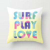 Surf Play Love Throw Pillow
