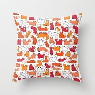 Foxy Foxes Doodle Throw Pillow