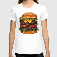 Double Cheeseburger Womens Fitted Tee White SMALL