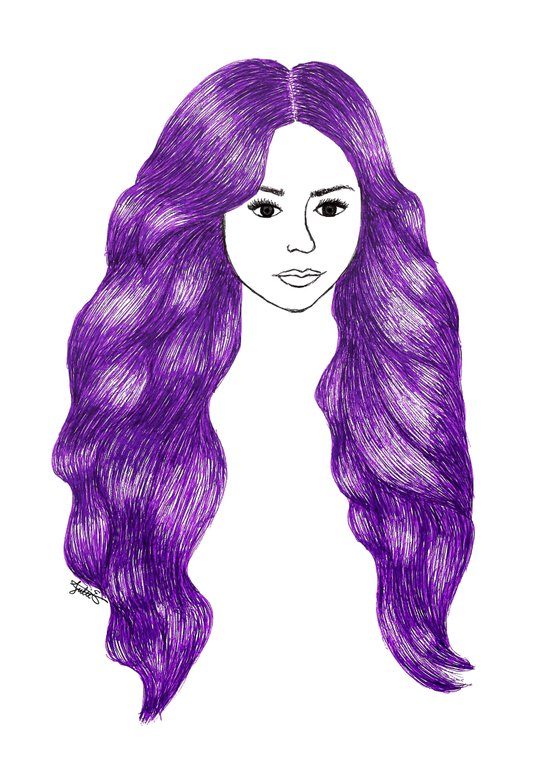 purple hair girl drawing fashion illustration