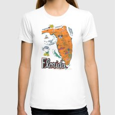 FLORIDA Womens Fitted Tee White SMALL