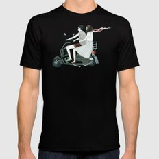 Couple On Scooter Mens Fitted Tee Black SMALL