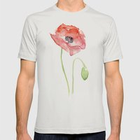 Red Poppy Watercolor Mens Fitted Tee Silver SMALL