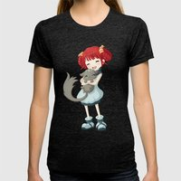 Girl And A Cat Womens Fitted Tee Tri-Black SMALL