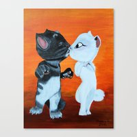 Kissing Cats Canvas Print