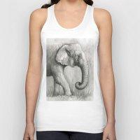 Elephant Watercolor Blac… Unisex Tank Top