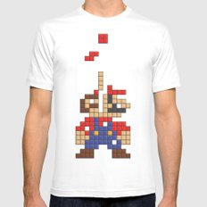 Super Mario Tetris Mens Fitted Tee SMALL White