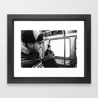 Playing the accordion in the tram, Göteborg Sweden Framed Art Print