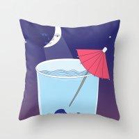 Waxing Waterglass Moon  Throw Pillow