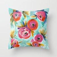 Rain Flower Throw Pillow