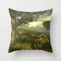 Summer tree in a poppy field Throw Pillow