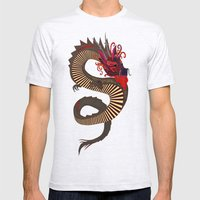 DRAGON INK turquoise Mens Fitted Tee Ash Grey SMALL