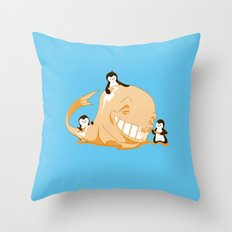 penguins and a whale Throw Pillow