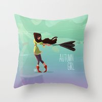 Autumn Girl Throw Pillow