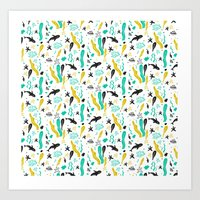 Swim With Me - Pattern Art Print