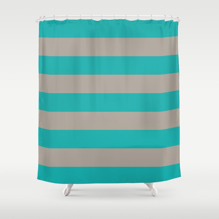 Tan And Turquoise Stripes Shower Curtain By Gathered Nest Designs Society6