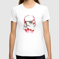 Storm Trooper Print Womens Fitted Tee White SMALL