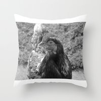 grayscale chicken (Ethel) Throw Pillow