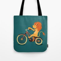 Lion On The Bike Tote Bag