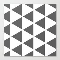 Canvas Print featuring Sleyer Dark Grey on White Pattern by Stoflab