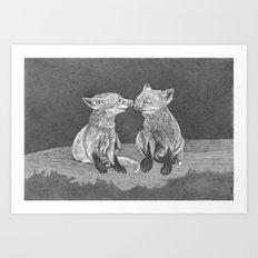 Kissing Cubs Art Print