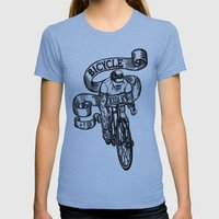 Bicycle Rider Womens Fitted Tee Athletic Blue SMALL