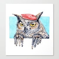 Serious Horned Owl In Re… Canvas Print