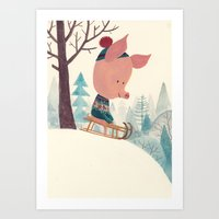 Winter Pig Art Print