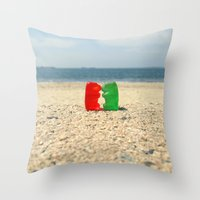 Gummy Bear Beach Kiss Throw Pillow