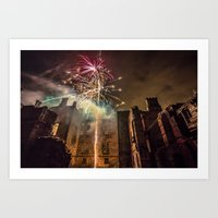 Fireworks in the ruins of Dunmore Park House. Art Print