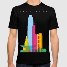 Shapes of Hong Kong. Accurate to scale SMALL Black Mens Fitted Tee