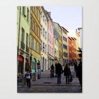 City Walking Lovers Canvas Print