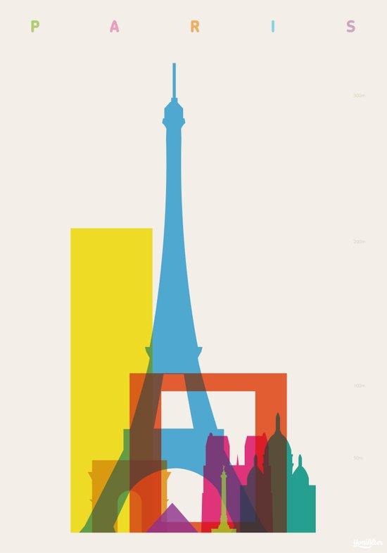 Shapes of Paris. Accurate to scale. Canvas Print