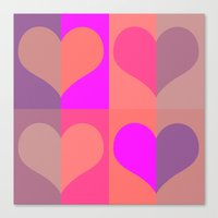 70's hearts Canvas Print
