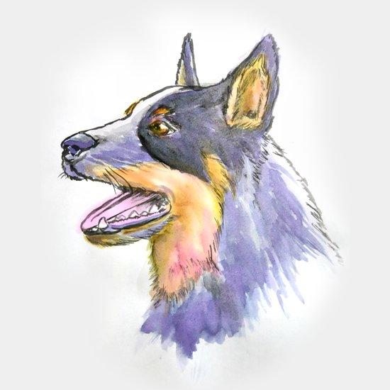 Hand Rendered Dog Art Print