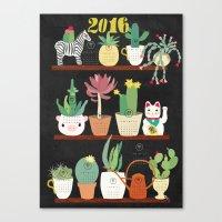 Cacti Calender 2016 Canvas Print