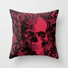 Gothic Lace Skull in red and black. Throw Pillow