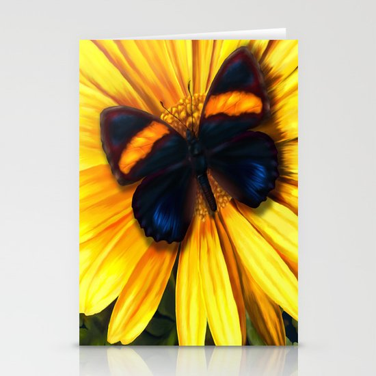 Butterfly on yellow Stationery Card