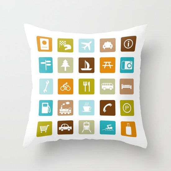 Travel Icons Throw Pillow