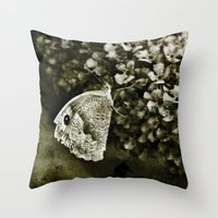 Large White Butterfly Throw Pillow