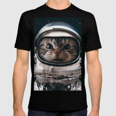Space catet SMALL Black Mens Fitted Tee