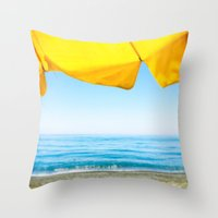 Yellow Beach Brolly with Blue Sea and Sky Throw Pillow