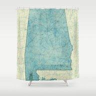 Alabama Map Blue Vintage Shower Curtain