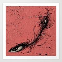 Pink Eye Feather. Art Print